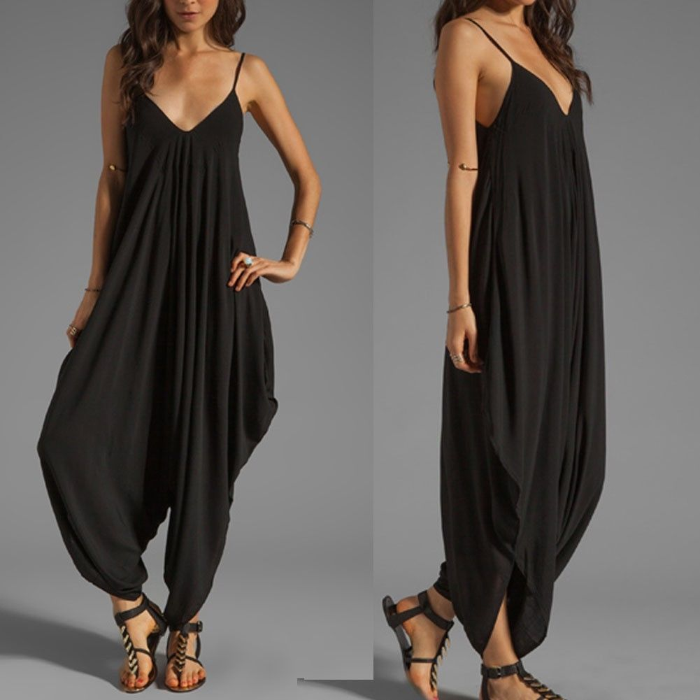 7e6b062f6fd8 May Maya Women s Black V Neckline All in One Beach Jumpsuit Playsuits Pants