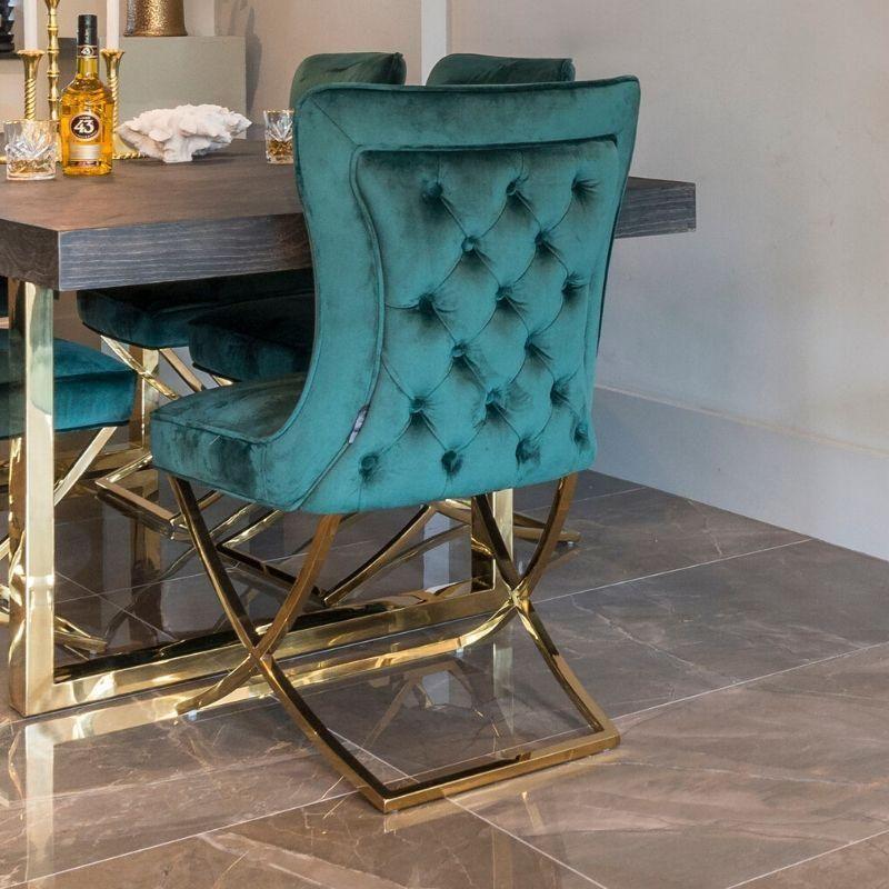 Celine green velvet gold dining chair pair in 2020