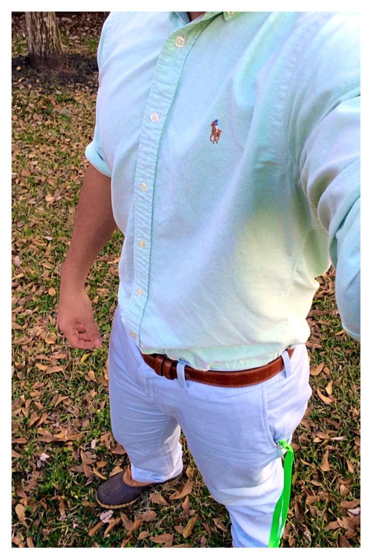 Winter 一 Spring transition   •Polo RL- shirt, belt & pants •Vineyard vines - lanyard •LL Bean - bean boots