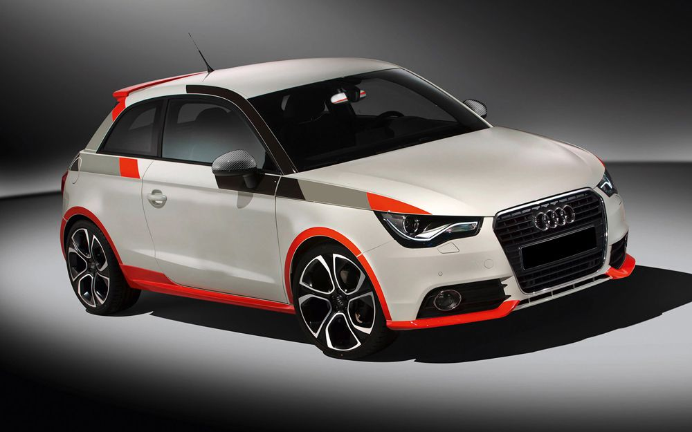White Audi A1 Sport With A Red Black Grey Stripes And Grey