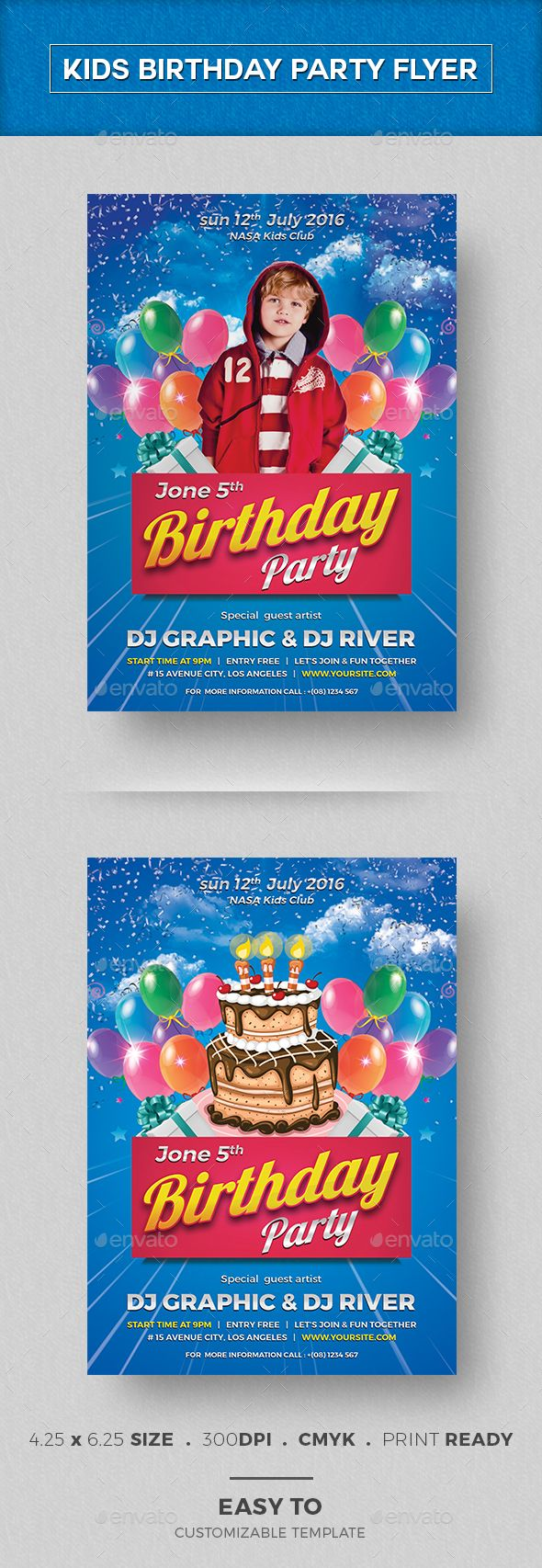 Kids Birthday Invitation   Flyer template, Template and Party flyer