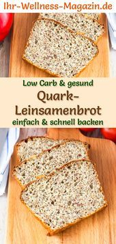 Low Carb Quark-Leinsamenbrot - gesundes Rezept zum Brot backen #flaxseedmealrecipes