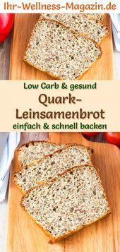 Low Carb Quark-Leinsamenbrot - gesundes Rezept zum Brot backen #flaxseedmealrecipes