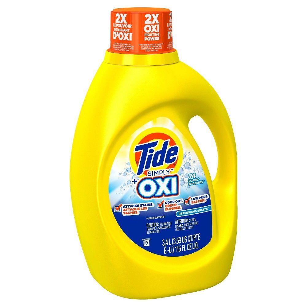 Tide Simply Plus Oxi Refreshing Breeze Liquid Laundry Detergent 115 Oz74 Loads Liquid Laundry Detergent Laundry Detergent Tide Simply