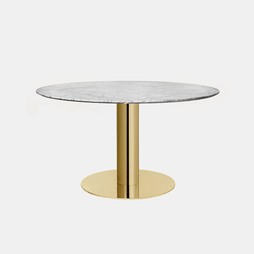 Gubi 2 0 Round Table Brass White Marble Monologue London