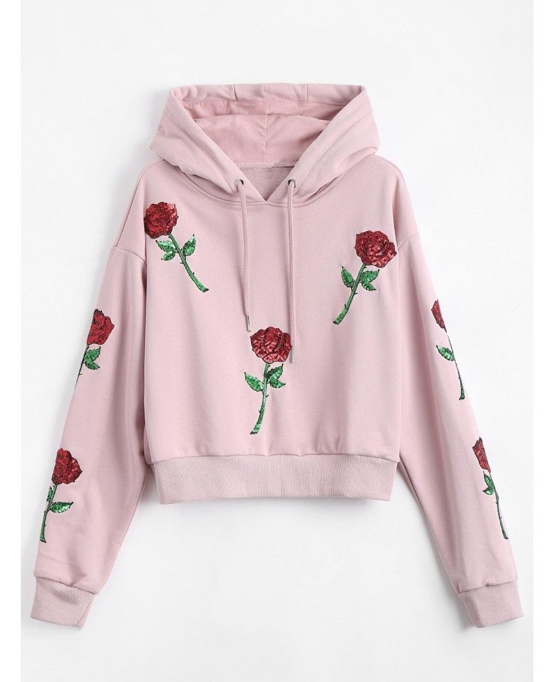 Comfy Womens Cropped Floral Hooded Drawstring Pullover Hoodies Top