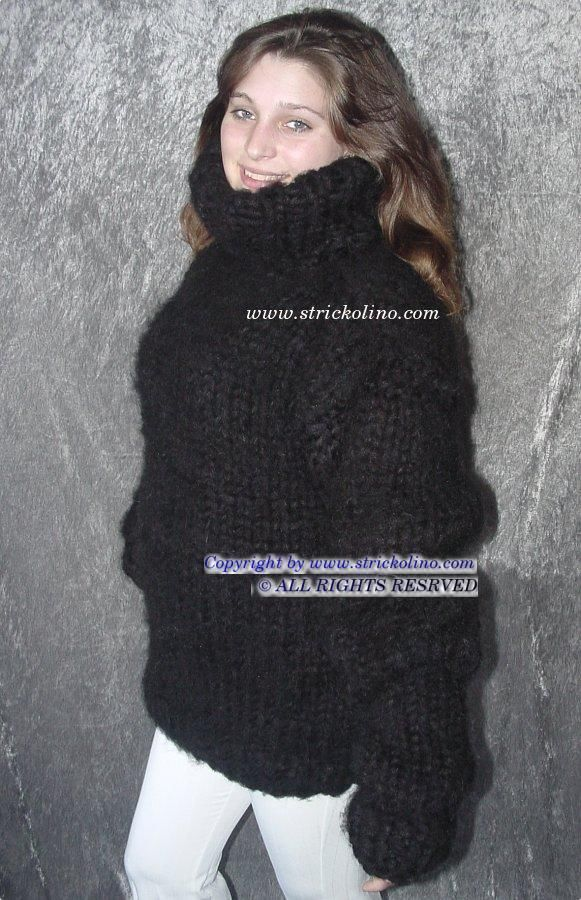 Handmade Black XL Mohair Wool Heavy Turtleneck Sweater #Handmade ...