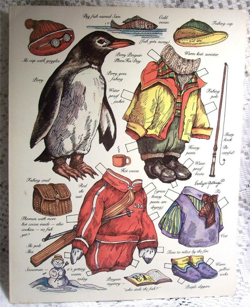 A Rare Find - Hand Signed Evelyn Gathings Perry Penguin Paperdoll Card