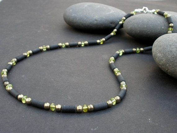 Mens Peridot Necklace 4mm Matted Black Obsidian Heishi Cylinder