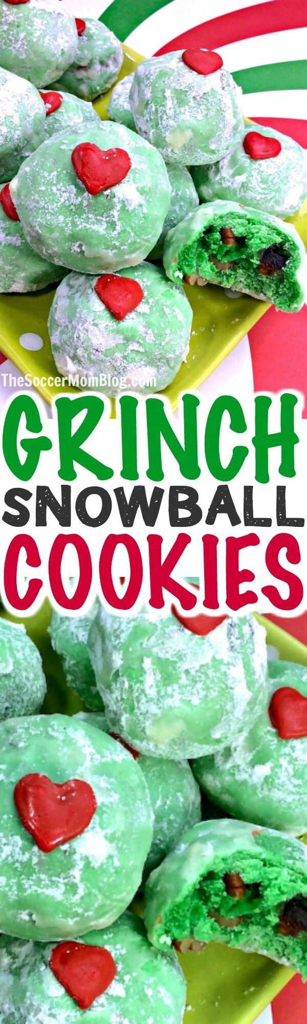 Grinch Cookies - Christmas Snowball Cookies