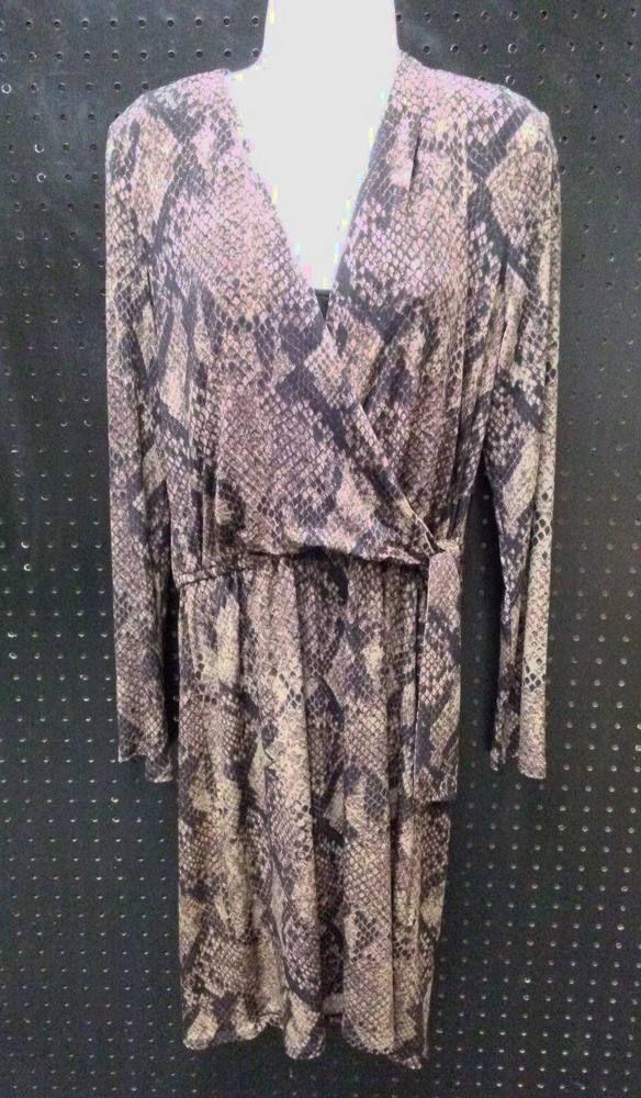 T Tahari Snakeskin Brown Black Long Sleeve Dress Size Petite Small SP B251…
