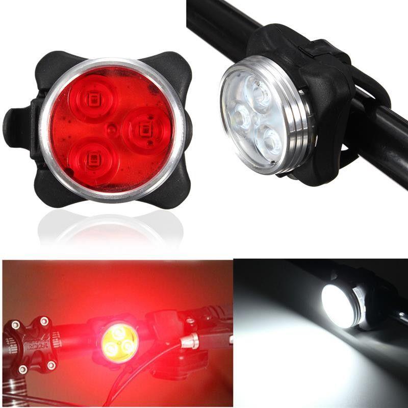 3LED USB Rechargeable Bike Headlight Taillight Single Piece Bicycle Lights Bulbs
