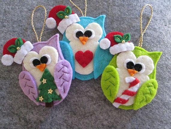 Navidad fieltro buho-ornamento de la Navidad por TinyFeltHeart