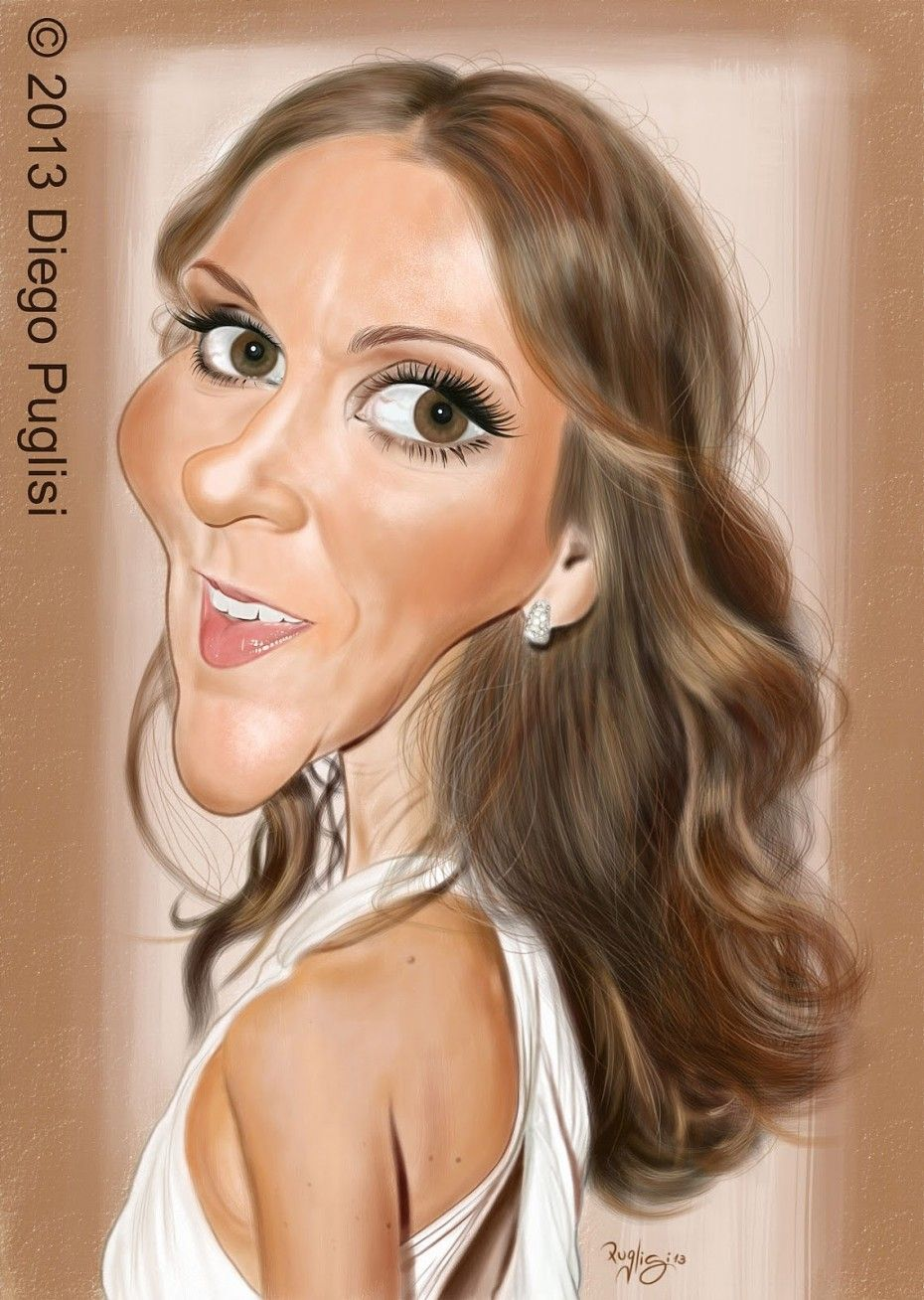 Caricatura De Celine Dion Celebrity Caricatures Funny Pictures Of Women Celebrity Art