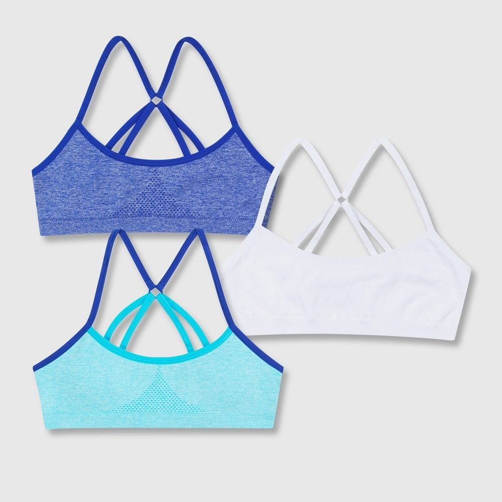 02d49dd53683b Support meets versatility with the Hanes Girls  Seamless Foam Strappy Back  Wirefree Bralette. These cool and comfortable bralettes feature foam cups  for ...