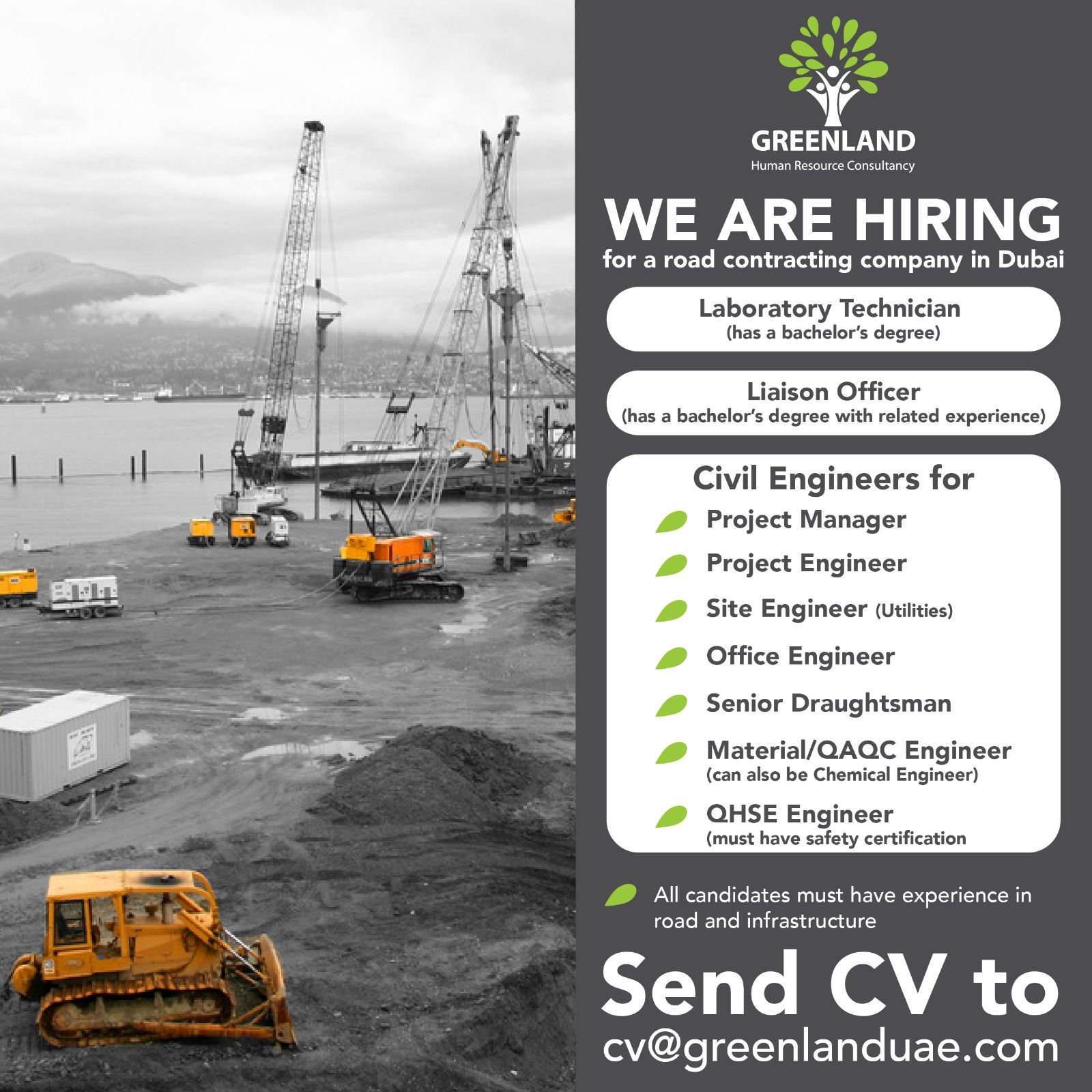 We are hiring for a road contracting company in Dubai
