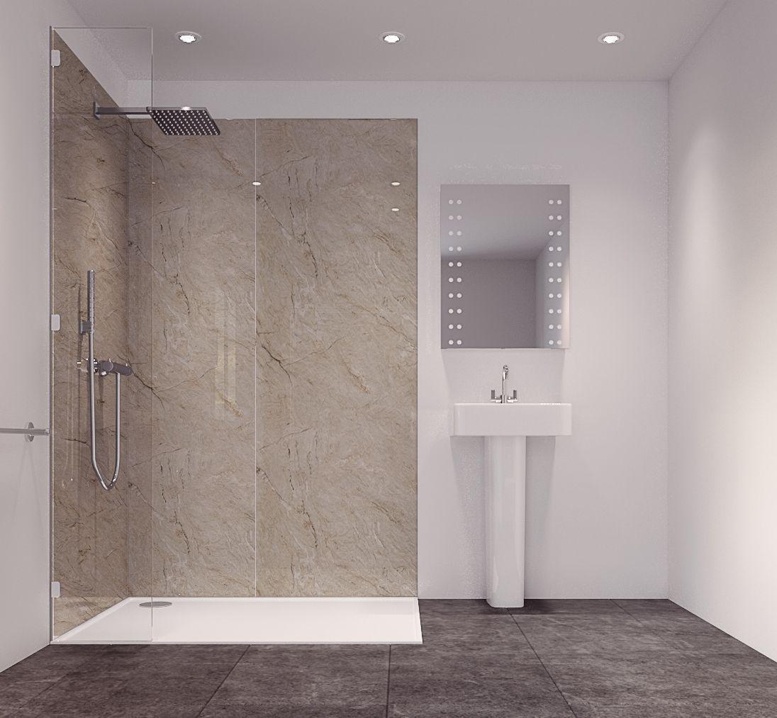 Splashwall Tuscan Natural Single Shower Panel L 2420mm W 585mm T 11mm Departments Diy At B Q Shower Panels Yellow Bathrooms Pretty Bathrooms