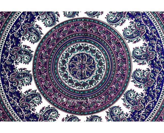 Delightful Gray And Blue Indian Mandala Tapestry Wall Hanging, Large Indian Hand Look  Hippie Style Wall Throw Bedspread For Your Home Decorative By Vedindia Amazing Design