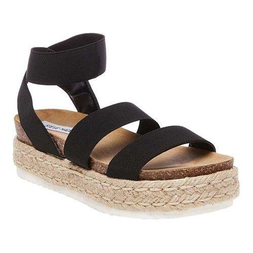 73e550cdcda3 Women s Steve Madden Kimmie Flatform Espadrille Sandal - Black Elastic  Sandals