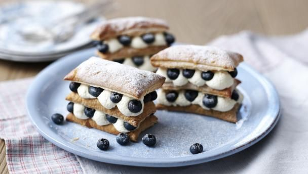 Blueberry and lemon millefeuille recipe dinner party desserts bbc food recipes blueberry and lemon millefeuille forumfinder Gallery