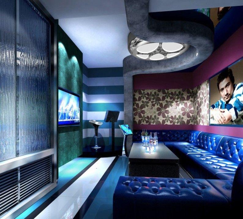 Theater Room Snack Bar: Night Rendering Of Blue KTV Room Interior Design