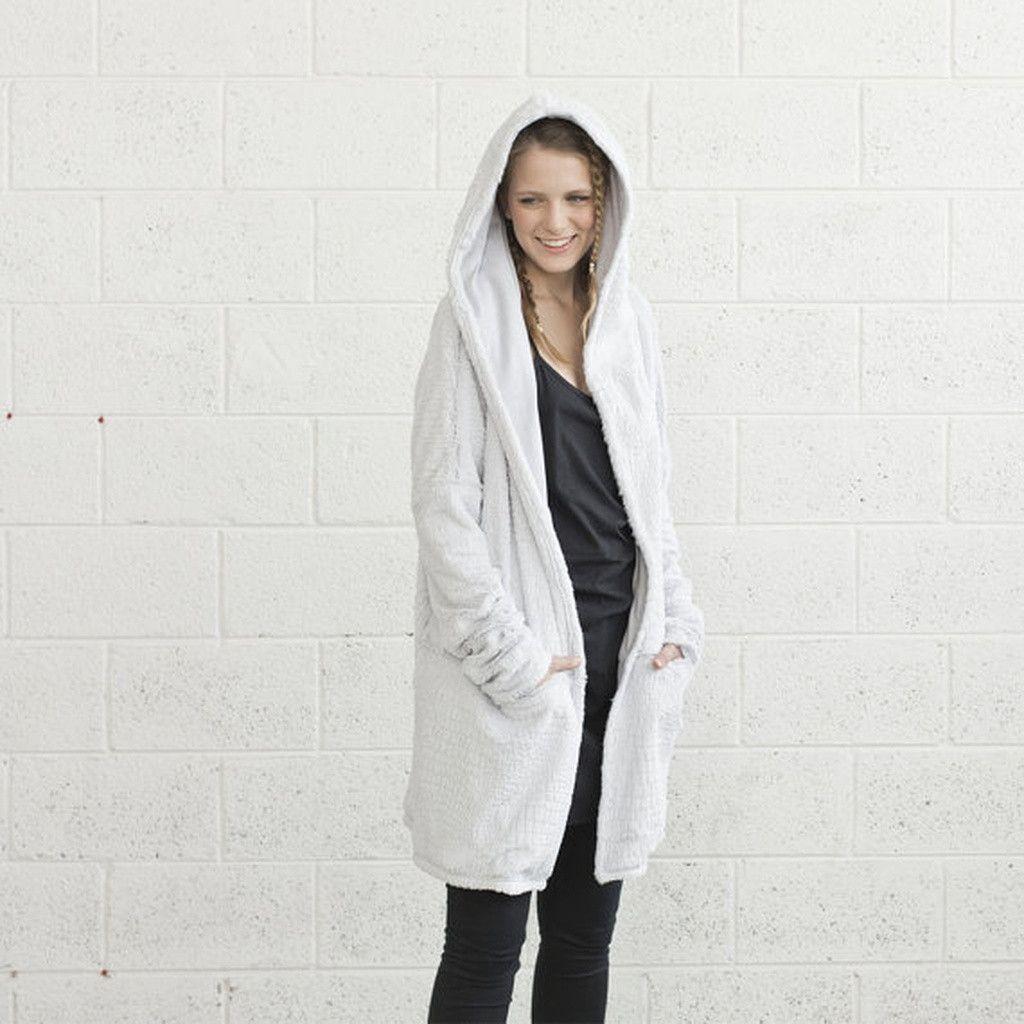 Faux Fur Hoodie- Light Grey