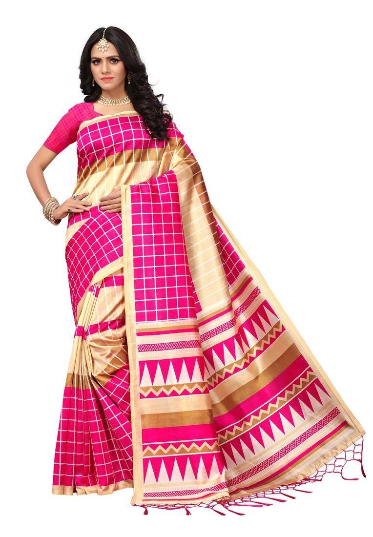 af8d3eea9 Pink and cream printed mysore silk saree with blouse