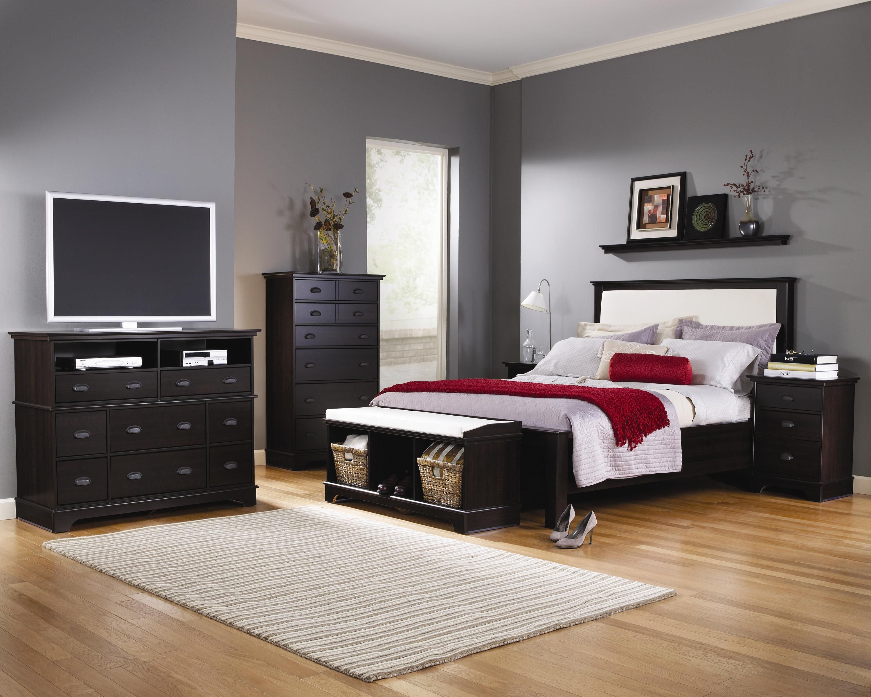 Lang Furniture Winward Espresso Maple Fabric Headboard