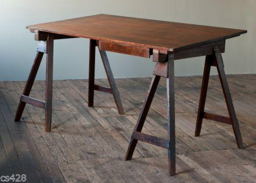 Great Antique Vintage Adjustable Architect Trestle Work Table Desk