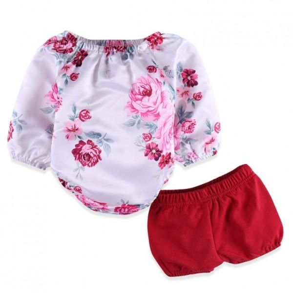 2-piece Pretty Long Sleeves Floral Bodysuit and Red Shorts Set for Baby Girl 32819a947
