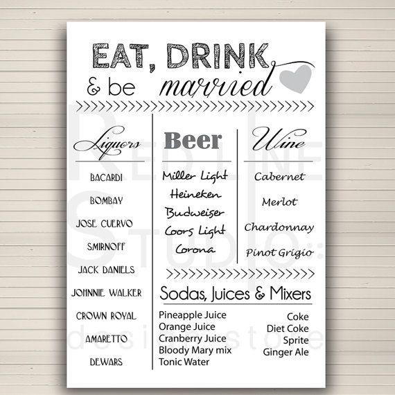 Bar Menu For Wedding Reception Wedding Bar Idea By Redlinecs 15 00 Wedding Menu Wedding Reception Food Wedding Reception