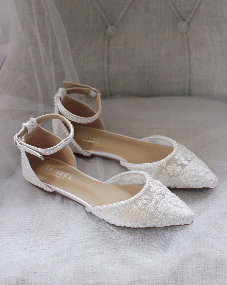 White Crochet Lace Pointy Toe Flats With Mini Pearls Women
