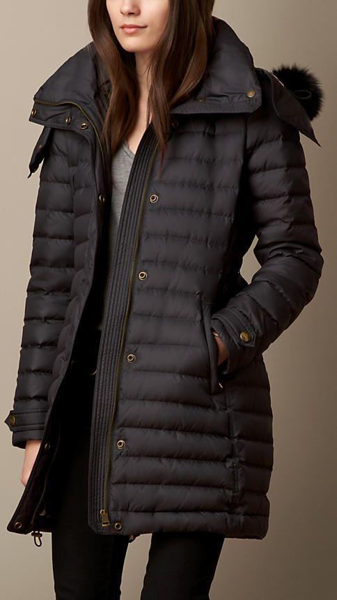 Burberry fox fur trim down filled duffle coat