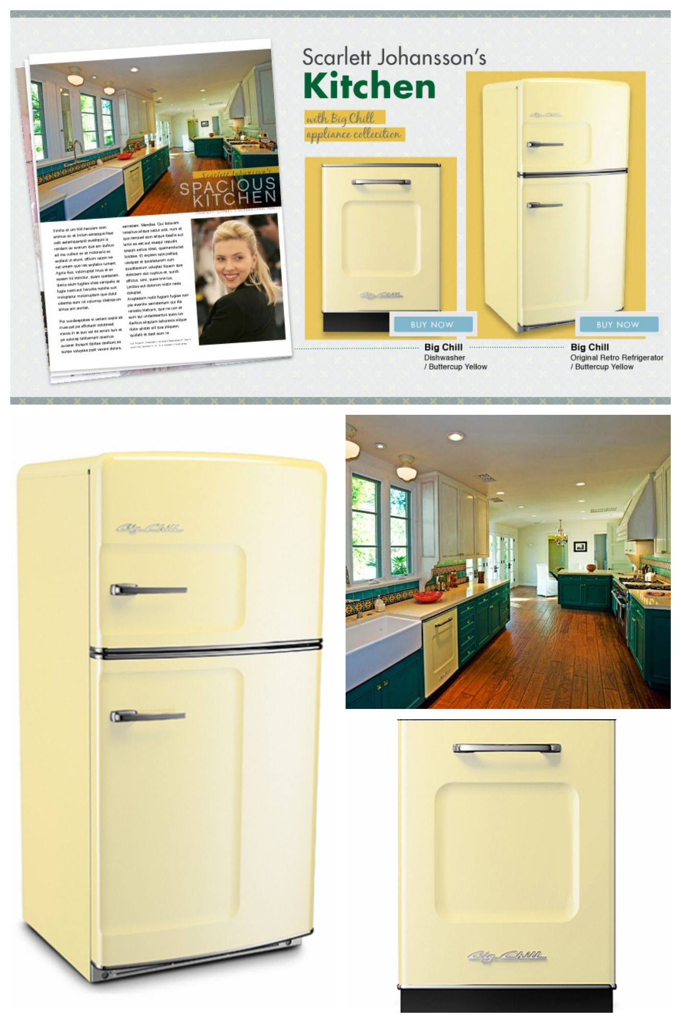 Celebrity kitchens inspired by big chill scarlett johansson goes for the beautiful buttercup yellow range how can you get the celebrity kitchen look