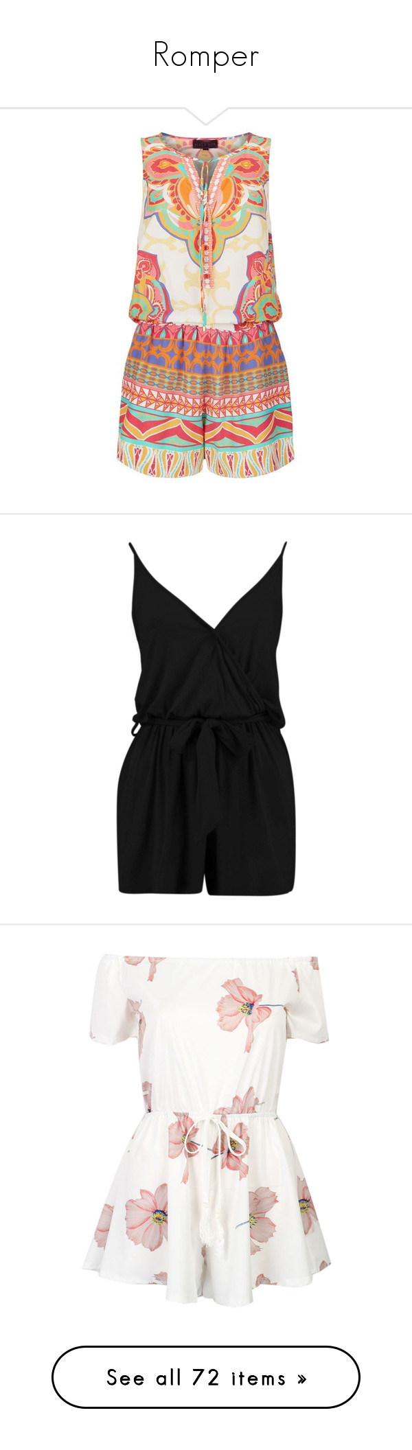 """""""Romper"""" by tlb0318 ❤ liked on Polyvore featuring romper, jumpsuits, rompers, playsuit, print romper, summer romper, playsuit romper, summer rompers, hale bob and dresses"""