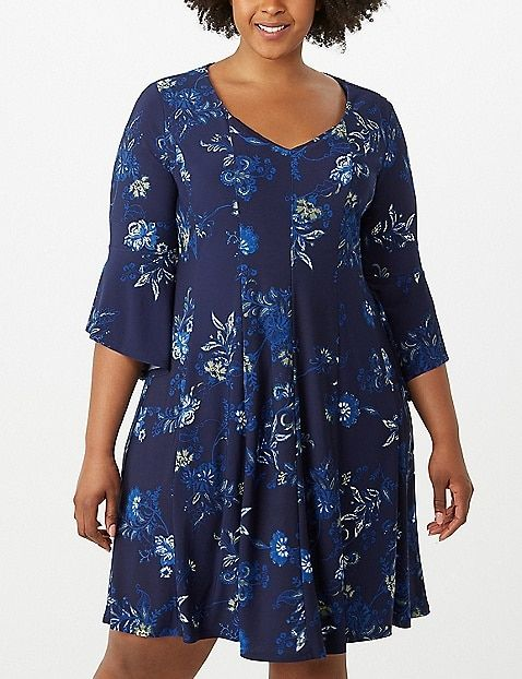 af6ea1439b Plus Size Printed Bell-Sleeve Seamed Dress