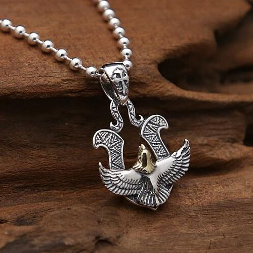 Mens sterling silver eagle pendant necklace with sterling silver mens sterling silver eagle pendant necklace mozeypictures Gallery