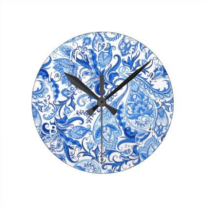 Great Gorgeous Blue White Floral Paisley Pattern Round Clock   Stylish Gifts Unique  Cool Diy Customize