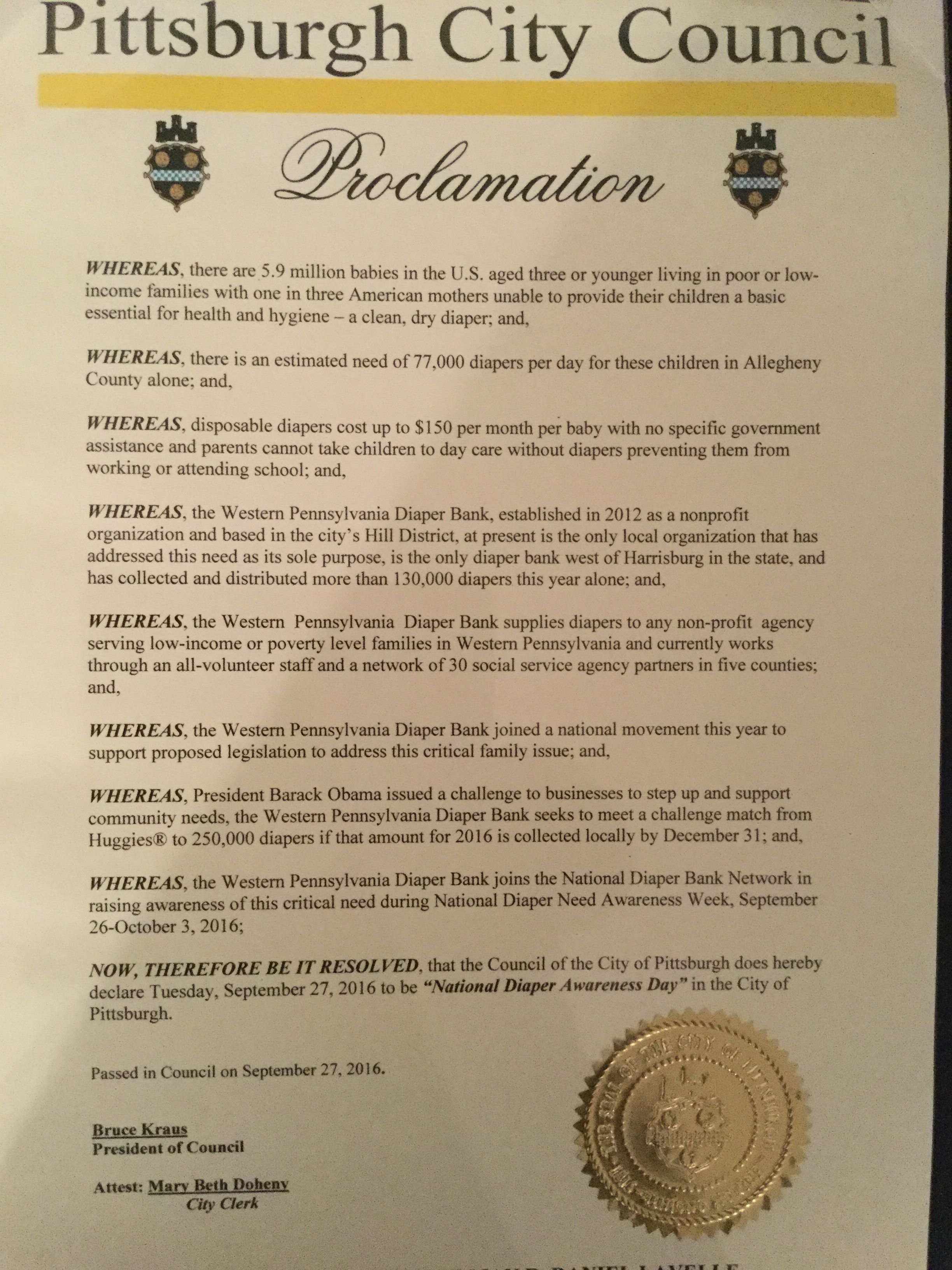 PITTSBURGH, PA - Mayoral proclamation recognizing Diaper Need Awareness Week (Sep. 26-Oct. 2, 2016) #DiaperNeed Diaperneed.org
