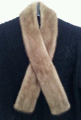 MODELA ROTTERDAM ladies genuine fur collar wrap shawl vintage retro tan brown