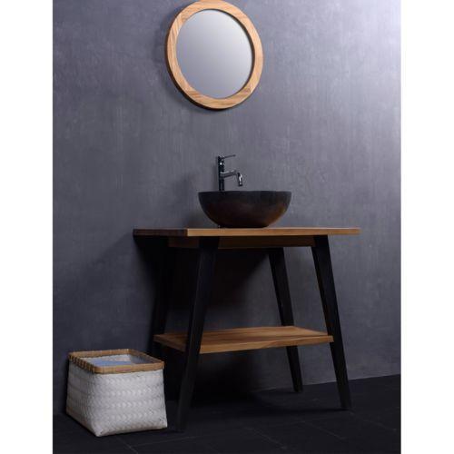 Ensemble de salle de bain en bois de teck avec vasque et miroir Du