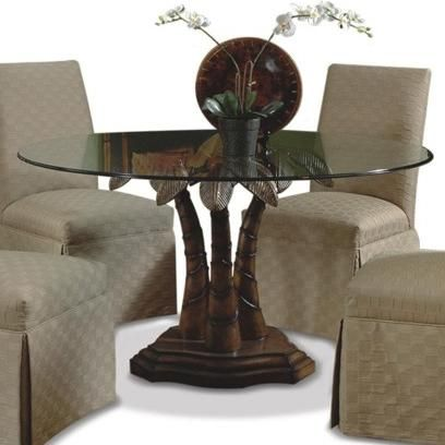 Ledo Round Glass Dining Table With Palm Tree Pedestal Base By CMI