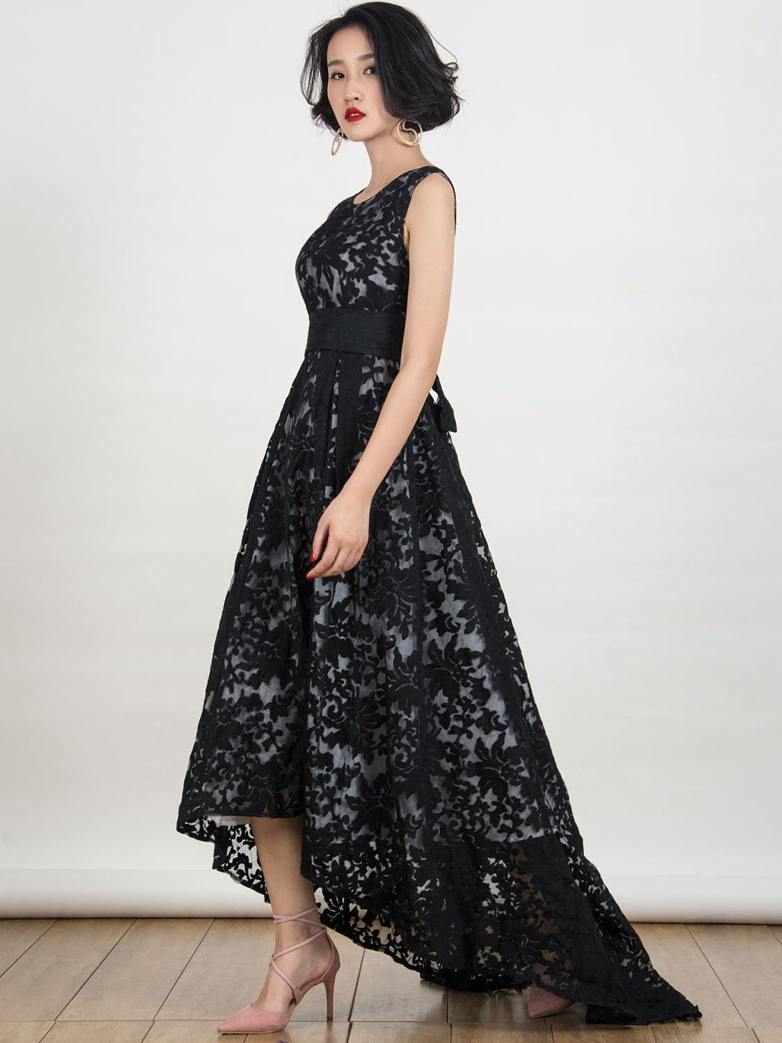 Black lace sleeveless high low maxi dress products pinterest d