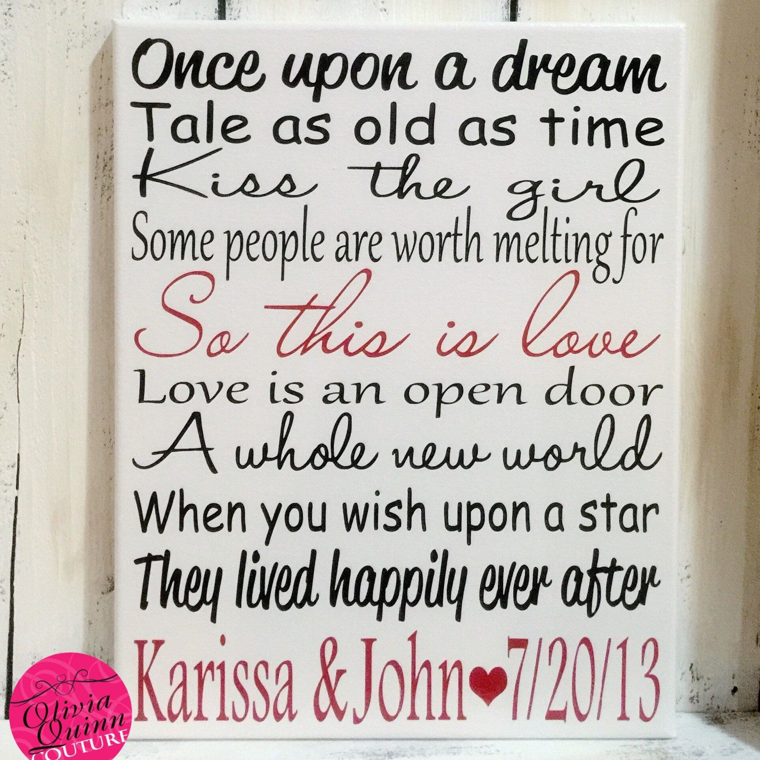 Story Wedding Ceremony Processional Music Song Ideas: DISNEY WEDDING VALENTINES Day Song Sign Home Decor Art