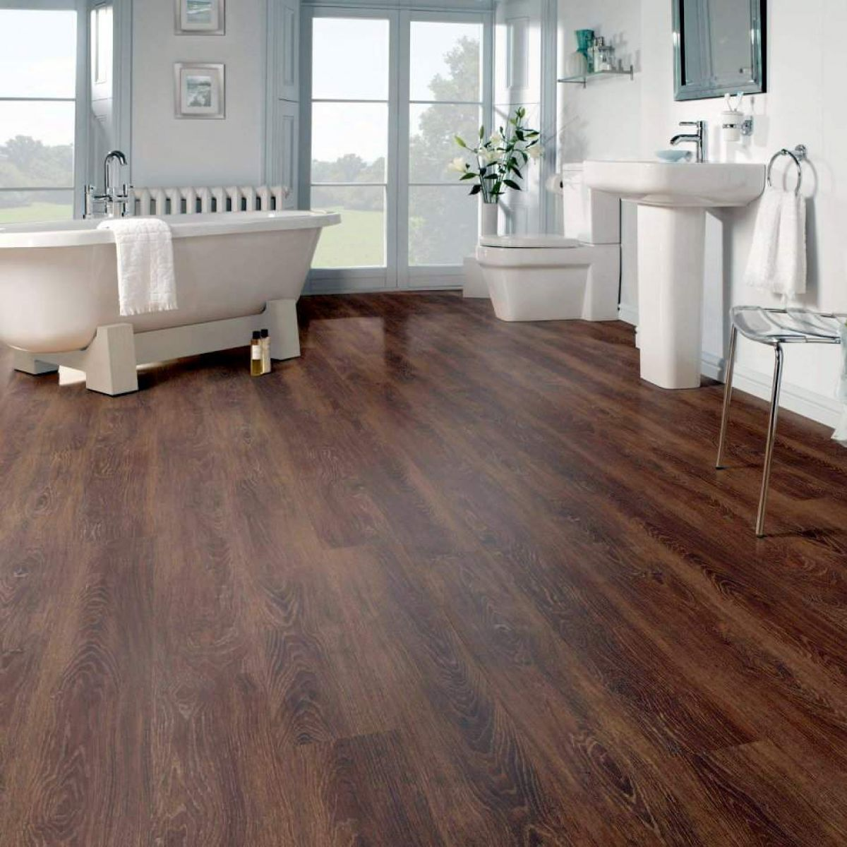 51 Old Fashioned Wood Flooring In Bathroom Composition