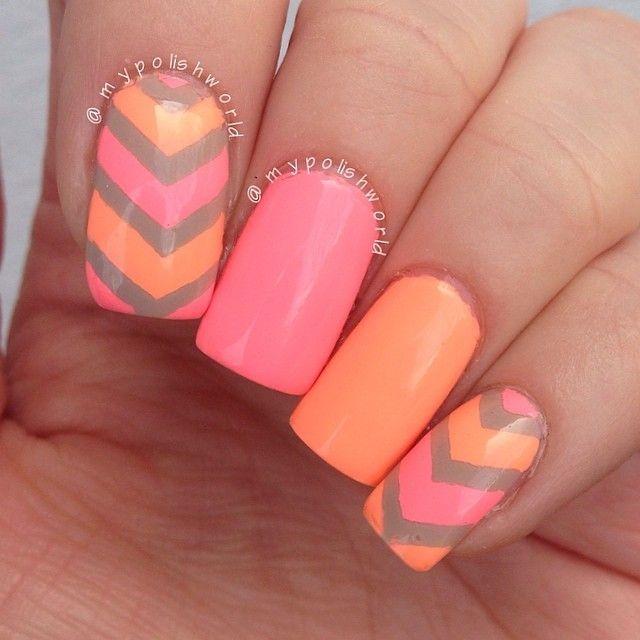 Beautiful Photo Nail Art: 35 Neon orange nail art design | nails ...