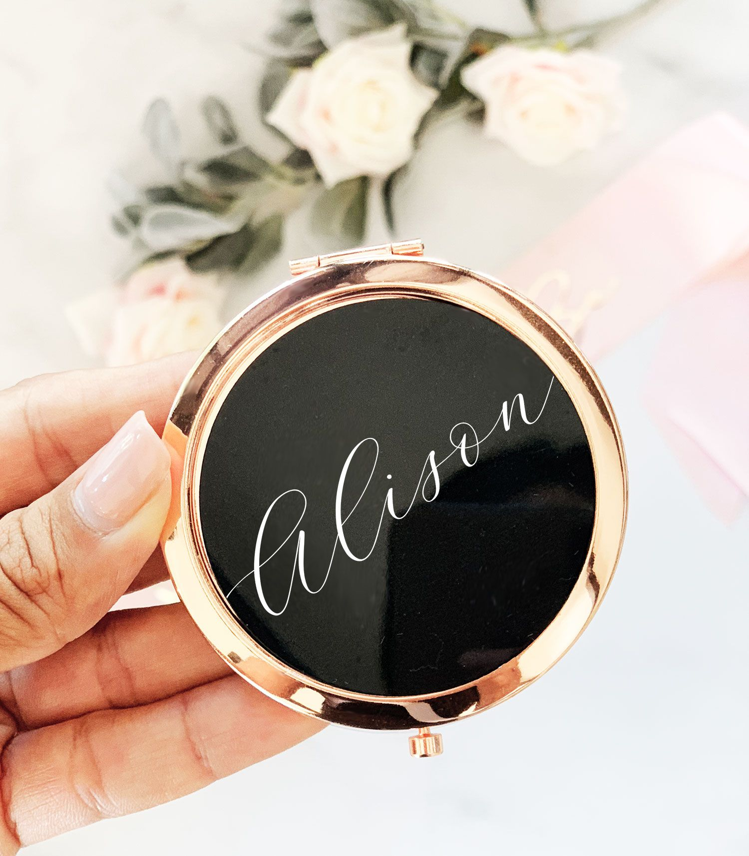 SFHMTL Pack of 2 Mother of The Bride and Mother of The Groom Compact Makeup Mirrors Set Wedding Proposal Gifts Black