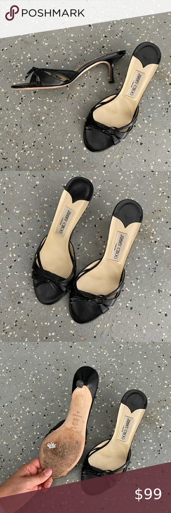 Jimmy Choo Kitten Heel Sandals Jimmy Choo Black Kitten Heel Sandals So Chic And Simple Jimmy Choo Shoes In 2020 Kitten Heel Sandals Black Kitten Heels Sandals Heels