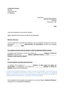 lettre de demission tresorier association gratuit Lettre de démission du trésorier d'une association de loi 1901  lettre de demission tresorier association gratuit