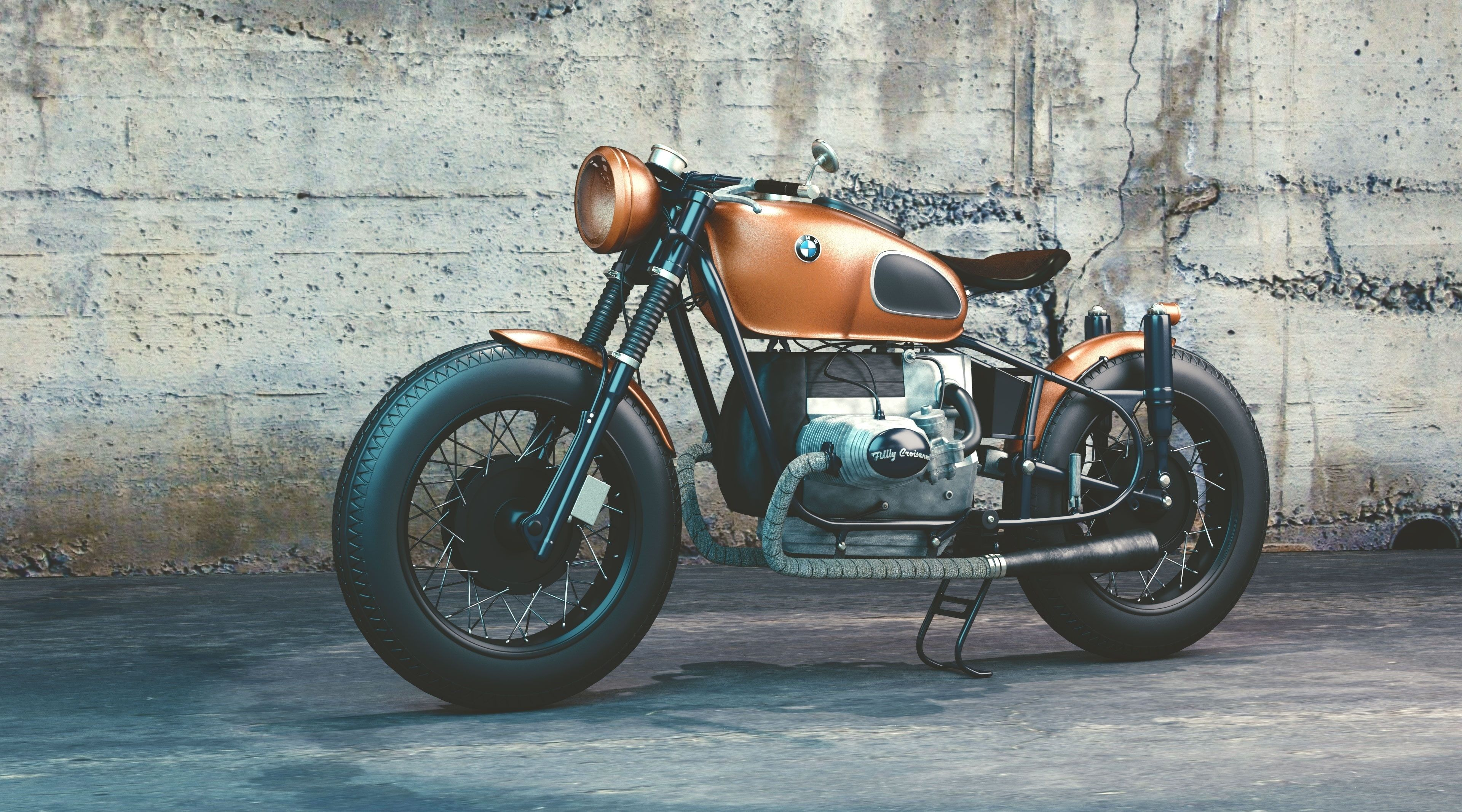 Bmw Motorcycle Brown Cafe Racer Motorcycle Artistic 3d Travel